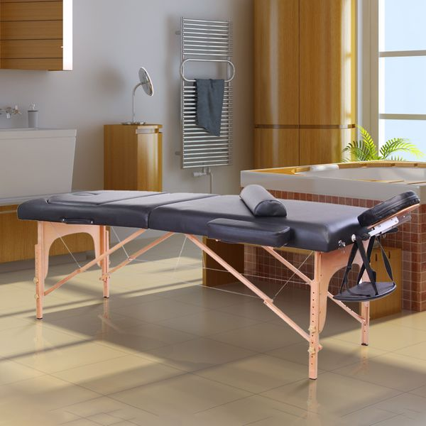 """Foldable Massage Table Chair 4""""x91"""" Portable Spa Facial Spa Bed w/ Free Carry Case Black 