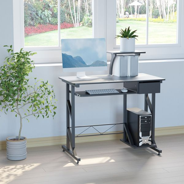 HOMCOM Computer Desk Writing Workstation Portable Space Saving Home Office Wood with Keyboard Tray Black