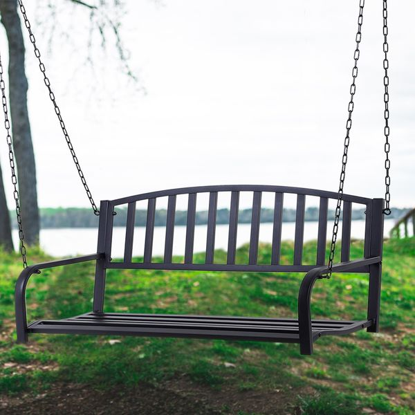 """Outsunny 50"""" Outdoor Porch Swing Hanging Bench Glider Chair with Chain Black 