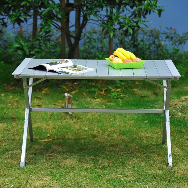 "Outsunny 45""x28""x28"" Aluminum Portable Picnic Table Folding Roll Up Top Aluminum Camp BBQ Table with Carrying Bag, Silver 