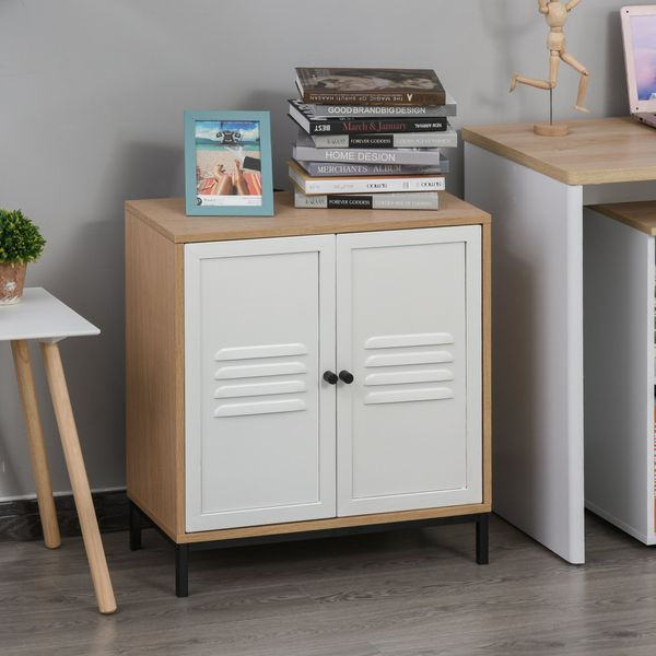 Vinsetto File Cabinet Metal and Wood Under Desk Lateral Filing Cabinet with Shelf Adjustable for Home & Office White and Natural Wood | Aosom Canada