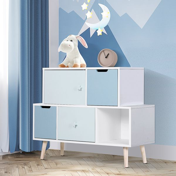 HOMCOM cute Kids Cabinet for Toys Storage and Organization Bedroom Living Room Blue Toy Stand | Aosom Canada