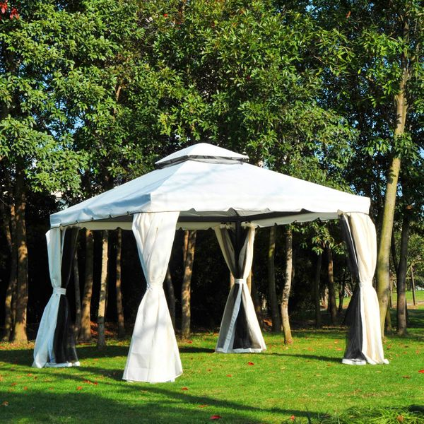 Outsunny 10x10ft Aluminum Gazebo Canopy Double Tire Garden Shelter with Mesh Netting and Privacy Curtains Party Event Tent Cream White | Aosom Canada