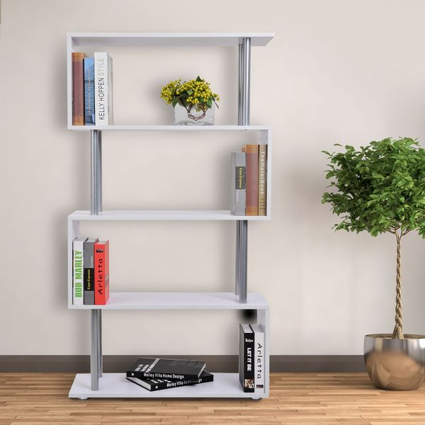 HOMCOM S-Shaped Bookshelf Room Divider Storage Shelf Home Organizer 4-Tires Wooden Bookcase Display Unit 5-Tier Open | Aosom Canada