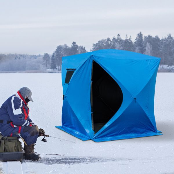 "Outsunny Pop-up Ice Shelter  81"" x 71"" 2-4 Person Fishing Tent Outdoor Portable Portab 