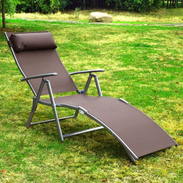 Outsunny Heavy-duty Adjustable Folding Reclining Chair Outdoor Sun Lounger Patio Chaise Lounge Garden Beach Gravity Lounge with Pillow Brown|Aosom.ca