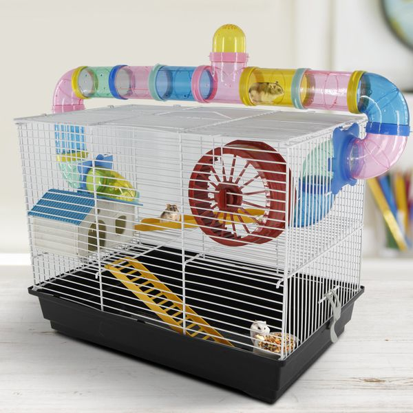 PawHut Hamster Cage Small Animals Habitat Play Exercise Center with 2 Level Mice Gerbil Heaven Tube Spinning Wheel Feeder Ladder | Aosom Canada