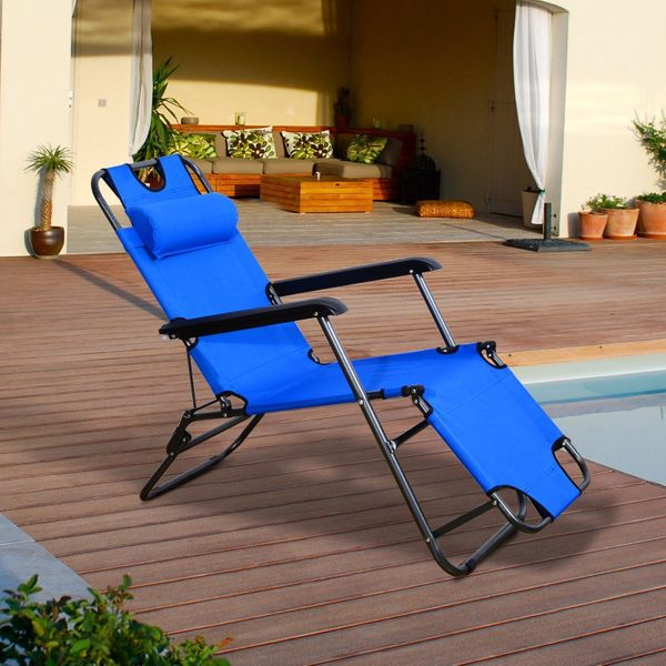 Lounge Chair Folding Portable Chaise Sun Lounger Recliner Outdoor Pool Furniture | Aosom Canada