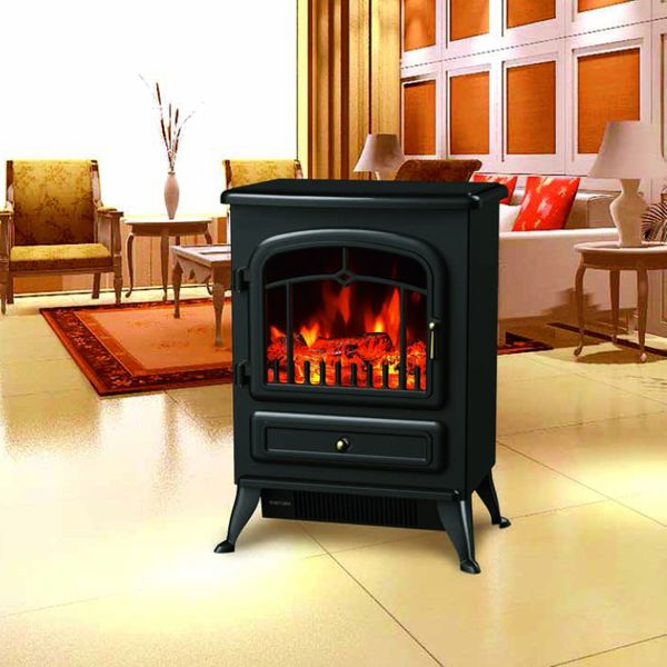 """HomCom 16ᄀᄆ Free Standing Electric Fireplace Portable Adjustable Heater with 21.6"""" Tempered Glass 750W/1500W Black 