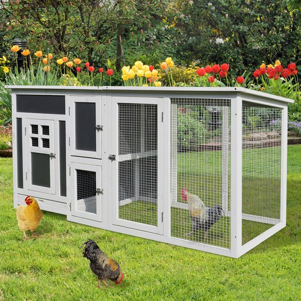 PawHut Deluxe Wood Chicken Coop PC Roof w/ Run Box AOSOM.CA