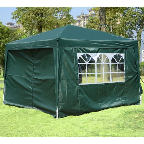 Outsunny 10x10 Pop Up Tent Outdoor Party Tent Wedding Patio Garden Gazebo Canopy with Carrying Bag Green|Aosom Canada