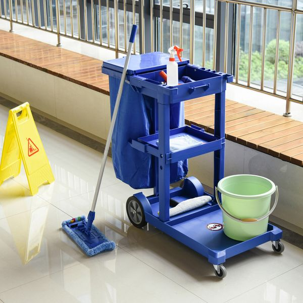 HOMCOM Commercial Janitorial Cart with 3 Tier Shelves Professional Cleaning Trolley with Rubbish Bag and Mop Mount for Hotel, Restaurant, Office, Blue