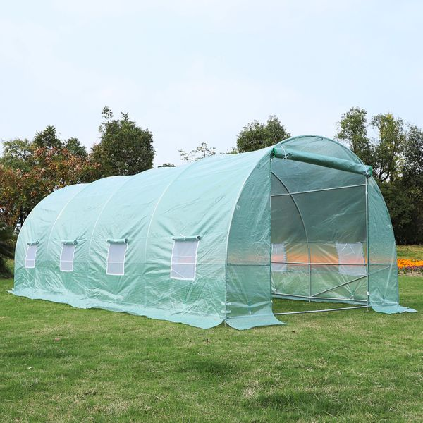 Outsunny 20x10x7ft Heavy Duty Tunnel Walk-in Greenhouse Outdoor Backyard Seed Plant Vegetables Grow Warm House Green|Aosom Canada