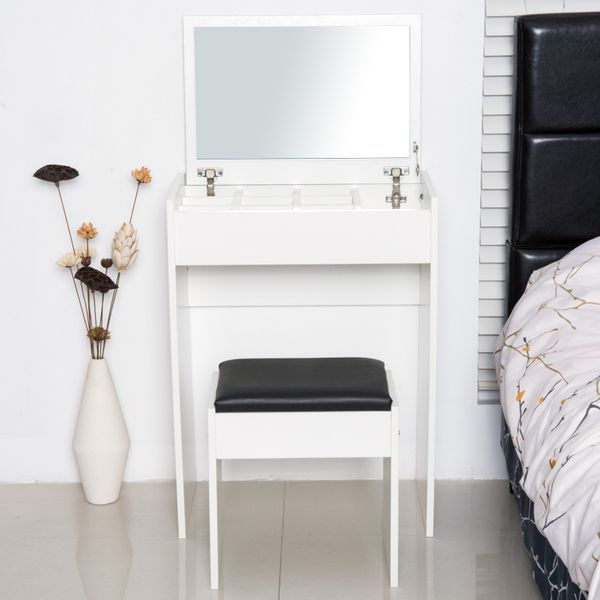 HOMCOM Mirrored Vanity Set Dressing Table and Stool Set Makeup Desk with Flip Top Bedroom Furniture White | Aosom Canada