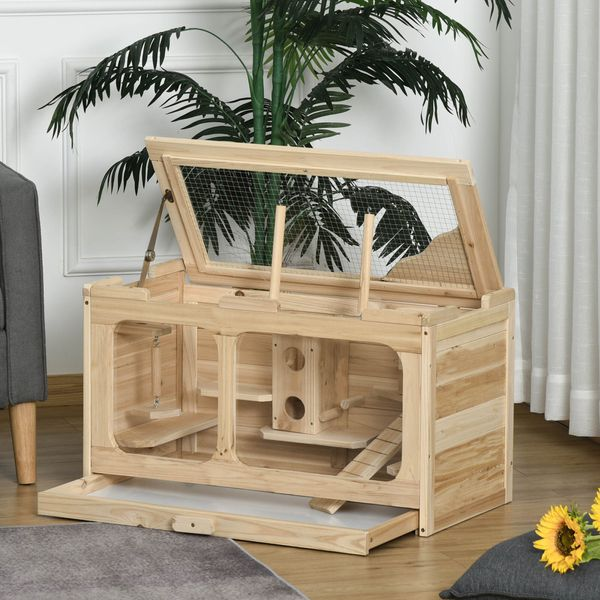 """PawHut Wooden Hamster Cage Rodent Small Animal Hutch with Seesaw, Ladder Activity Center Play House for Indoor Use 30.75"""" x 15.75"""" x 17.25"""", Natural Kit 