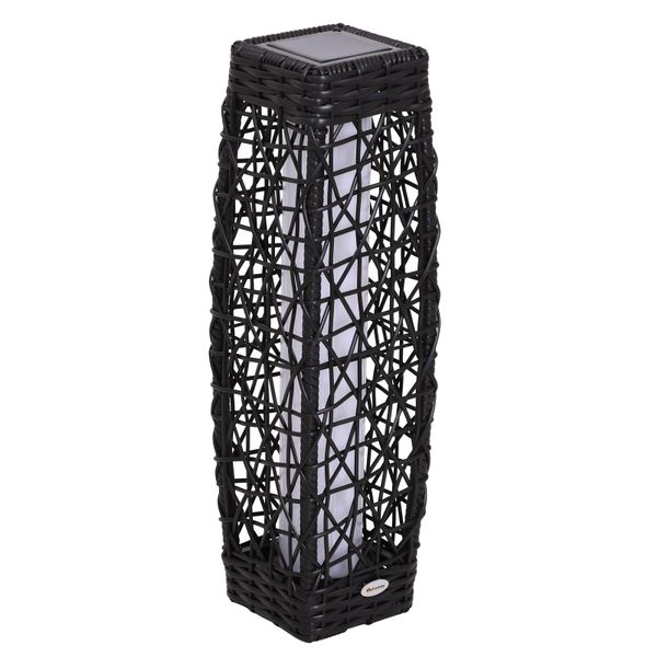 Outsunny Garden Solar Powered LED Rattan Floor Lamp Outdoor Decorative Deck Standing Lantern Yard Wicker Path Lights|Aosom Canada