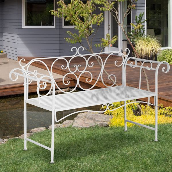 "Outsunny 50"" 2-Person Metal Garden Bench Outdoor Loveseat Yard Decorative Chair Park Seat Patio Furniture White Frame Decor 
