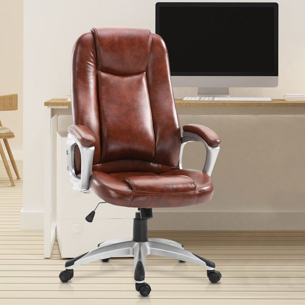 Vinsetto Executive PU Leather Rocking Office/ Gaming Chair Adjustable Padded Seat with Wheels Brown Aosom Canada