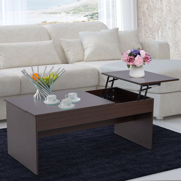HOMCOM Modern Lift Top Coffee Table Hidden Compartment Living Room Dark Brown | Aosom Canada