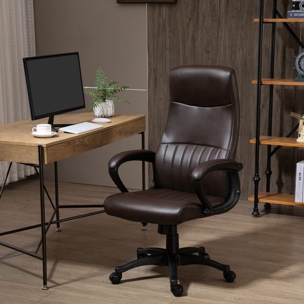 Vinsetto High Back Office Chair Swivel Executive PVC Leather Ergonomic Chair, Adjustable Height, Brown   Aosom Canada