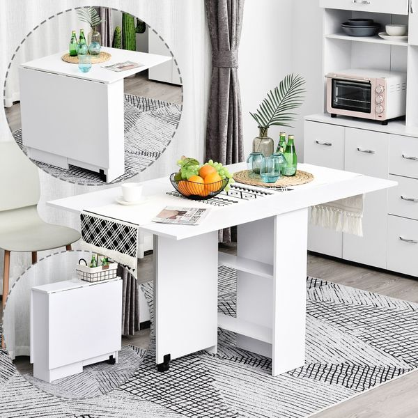 HOMCOM Drop Leaf Table Folding Dining Table Multifunctional Expandable with 2 Shelves