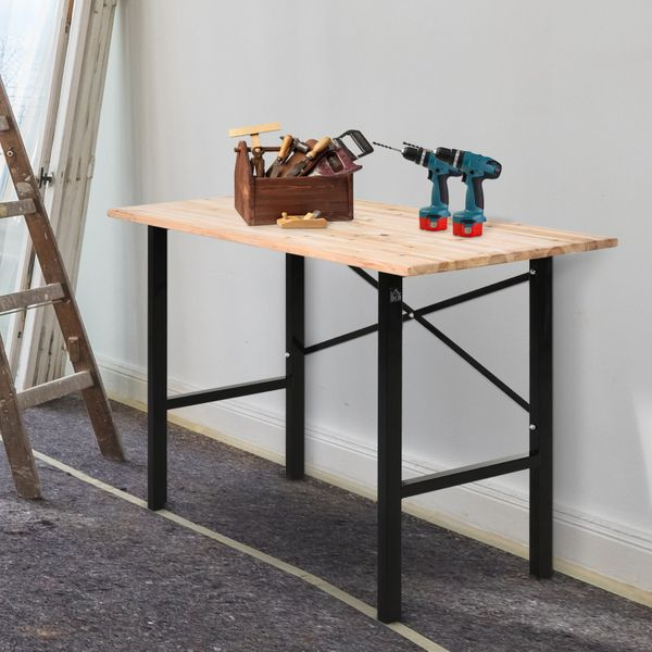 HOMCOM Fir Wood Work Table X-Shape Bracket High Stability Large Tabletop Heavy Duty Easy Assembly for Garage Kitchen Office Study Structure | Aosom Canada