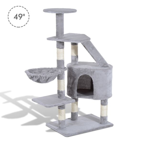 "PawHut 49"" Deluxe Cat Tree Furniture Scratching Pet Tower Condo Kitten Play Post House Activity Center Grey 