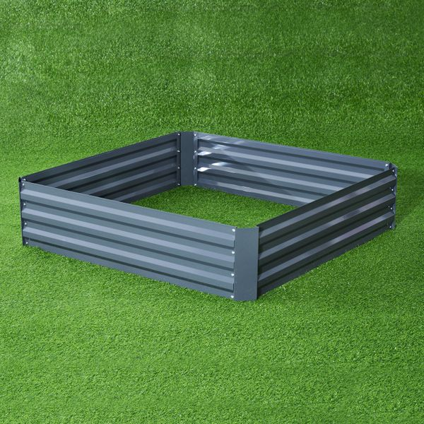 Outsunny Garden Box Kit Set Galvanized Steel 4-Panel Grey|AOSOM.CA
