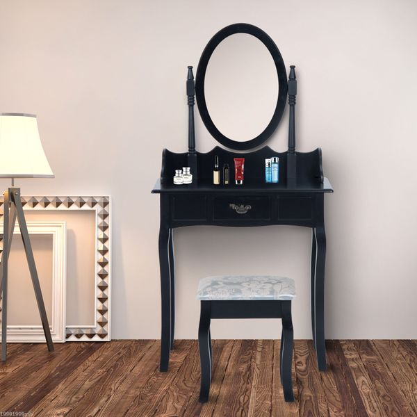 HOMCOM Vanity Table Set: Table & Wood Stool w/ Mirror – Black|Aosom.ca
