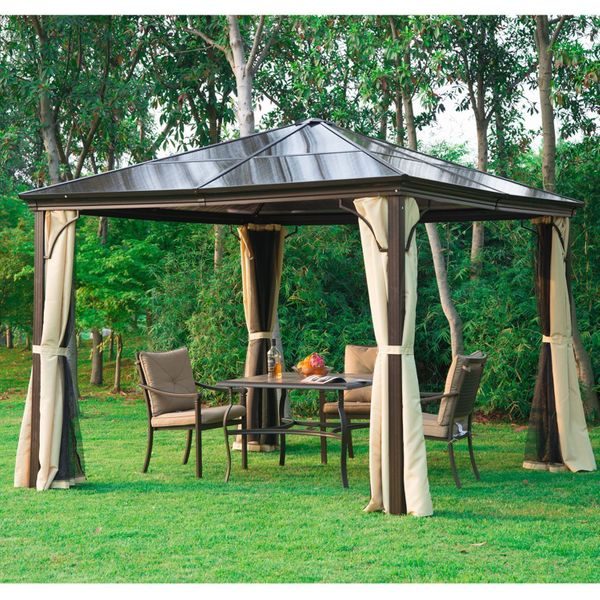 Outsunny 10 x 10 ft Deluxe Hard Top Waterproof Gazebo Canopy Heavy Duty Shelter with Curtains and Mosquito Netting