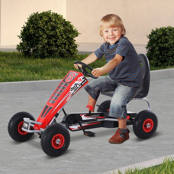 Aosom Pedal Go Kart Children Ride on Car Racing Style with Adjustable Seat Rubber Wheels Handbrake Clutch Red|Aosom Canada