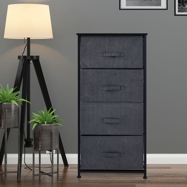 HOMCOM Fabric Dresser Organizer with 4 Drawers Steel Frame Wood Top Storage Tower|AOSOM.CA