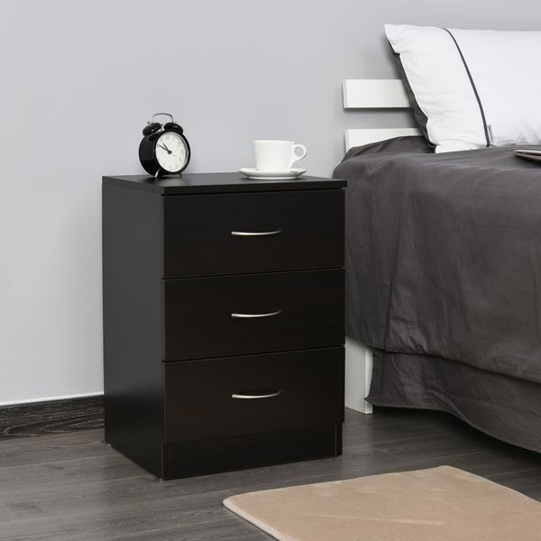 HOMCOM Accent Table with 3 Drawers Wooden Bedside Table Night Stand Home Furniture Side Chest | Aosom Canada