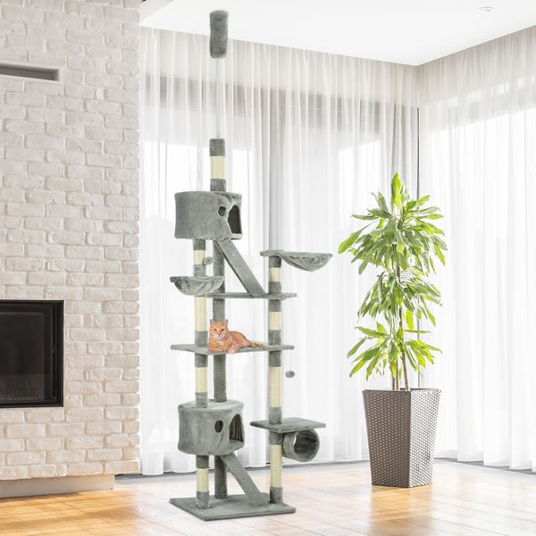"""PawHut 94""""-102"""" Huge Cat Tree Ceiling High Cat Condo Scratching Post Activity Center Multi-Level Play House Light Grey Tower   Aosom Canada"""