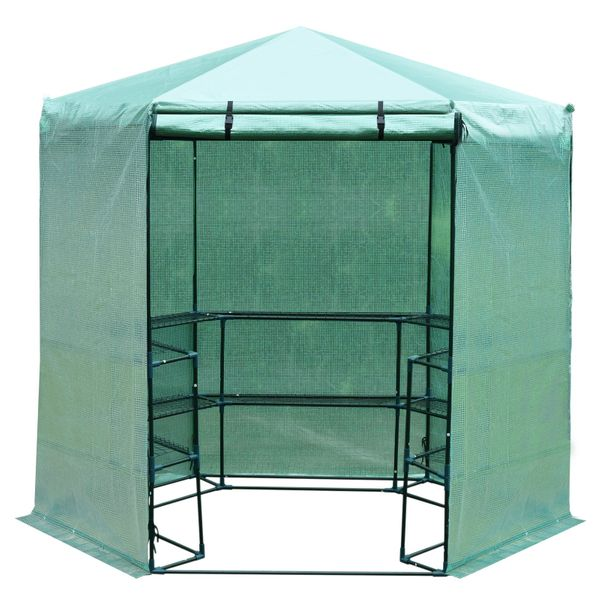 """Outsunny 76.4""""x88.6"""" Hexagonal Portable Walk-In Greenhouse Warm Plants Flower House with Shelves, Green"""
