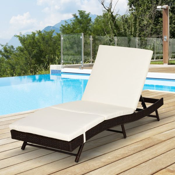 Outsunny Adjustable Wicker Rattan Sun, Pool Chaise Lounge Chairs Canada