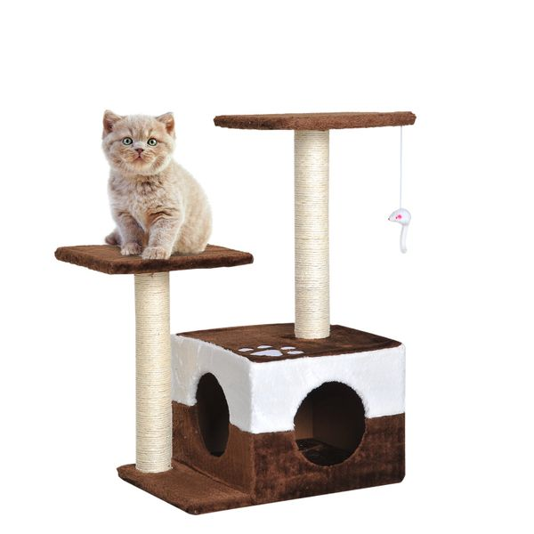 "PawHut 28"" Cat Tree Scratcher Kitten Condo Play House Activity Center With Sisal Scratching Posts Plush Perch And House Pet Tower Furniturew/ Hanging Toy Brown