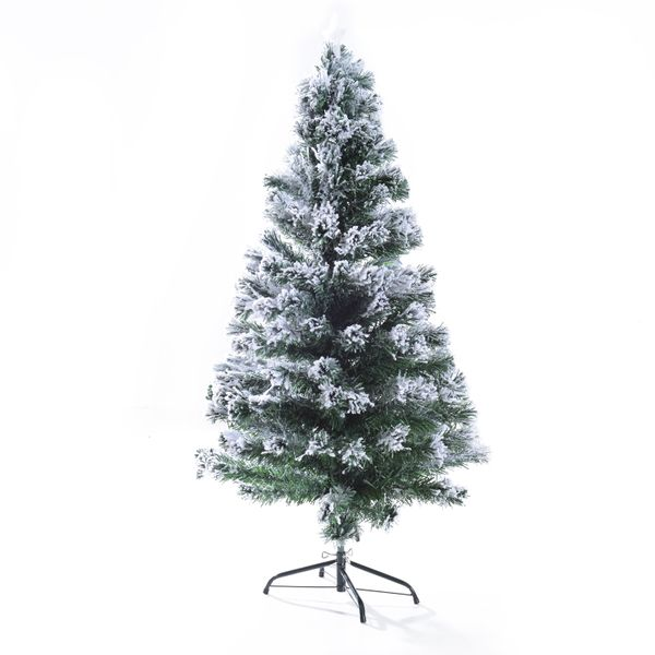 HOMCOM 5ft Pre-Lit LED Optic Fiber Christmas Tree Top Star w/ Stand|AOSOM.CA