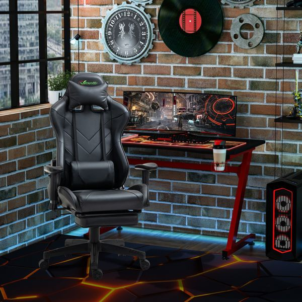 Vinsetto Gaming Chair 2D Arm Lumbar Support Swivel Office Computer Recliner Racing Gamer Desk Chair with Footrest Headrest for Home Black w/ | Aosom Canada