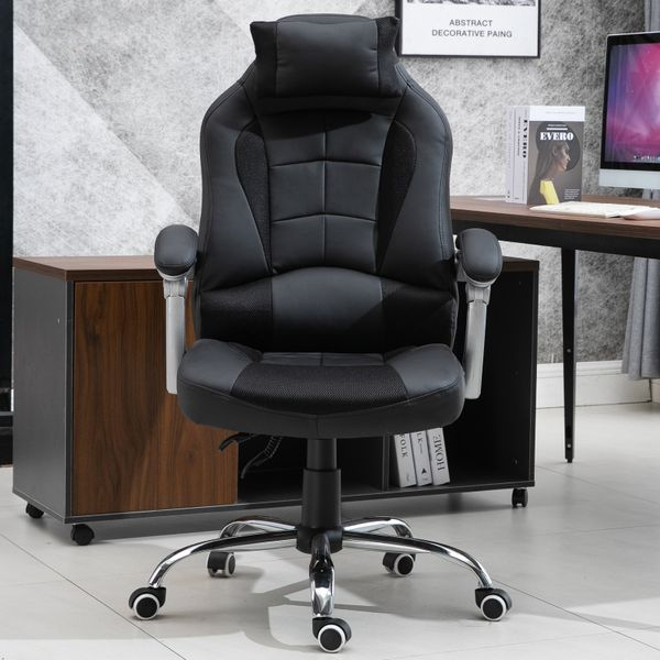HOMCOM Ergonomic Executive Office Chair Swivel Light Racing Style Recliner PU Leather Adjustable Height Black|Aosom Canada