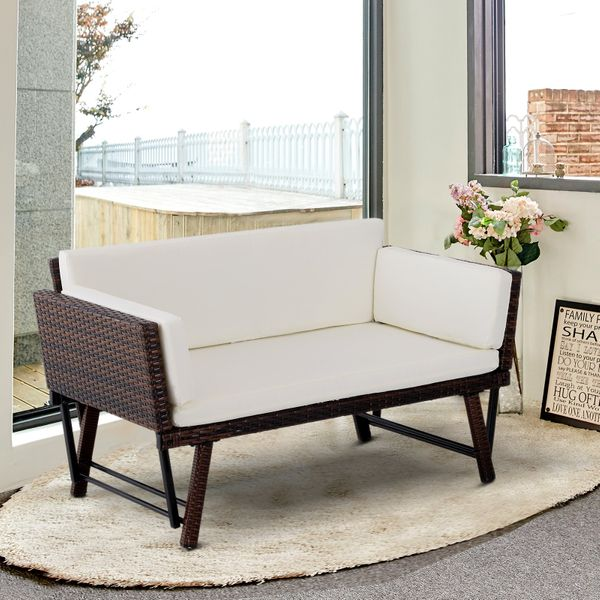 Outsunny Convertible Rattan Sofa Bed Chaise Lounge Wicker Loveseat Armchair Double Seat with Cushion All Weather Patio Furniture Brown