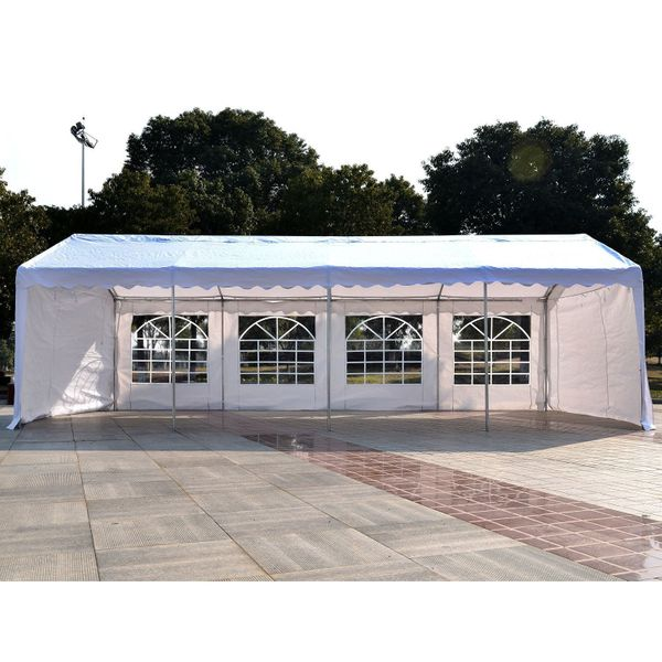 Outsunny 13'x26' Heavy-duty Outdoor Carport Wedding Party Event Tent Patio Gazebo Canopy Shelter with 4 Sidewalls White | Aosom Canada