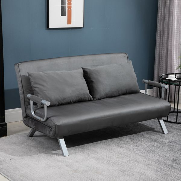 HOMCOM Convertible Double Sleeper Sofa Bed with 5 Backrest Position Futon Folding Loveseat Living Room Grey|Aosom.ca