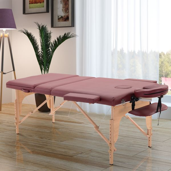 HOMCOM 3 Fold Massage Table w/ Carry Case Foldable Facial Spa Couch Dark Red|Aosom.ca