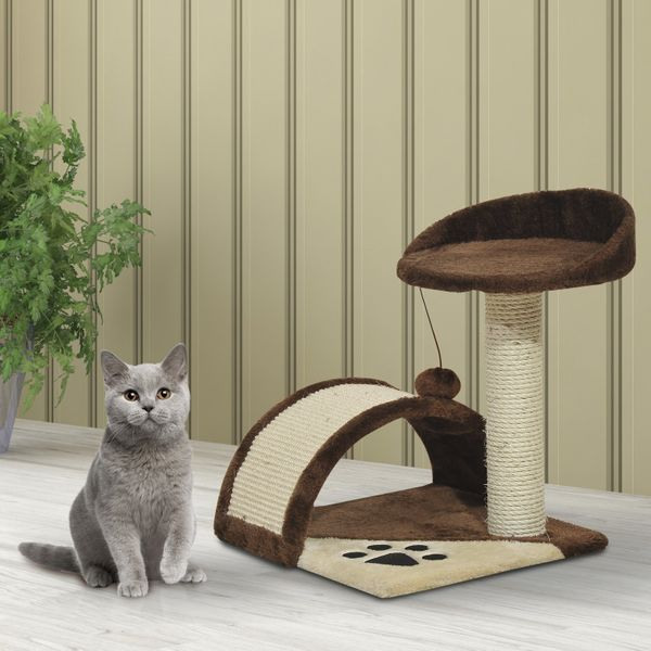 "PawHut Cat Tree Pet Activity Condo Post Scratcher Toys Furniture House  17"" Scratching Kitty Kitten Activity Center Bed with Hanging Toy Beige/Brown 