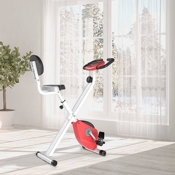 Soozier Foldable Upright Training Exercise Bike Indoor Stationary X Bike with 8 Levels of Magnetic Resistance for Aerobic Exercise, Red X-Bike | Aosom Canada