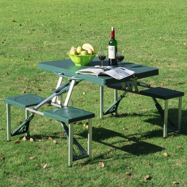 Outsunny Folding Picnic Table Chair Set Portable Junior Outdoor Seating Bench Dark Green|Aosom.ca