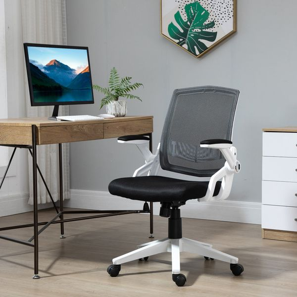 Vinsetto Mesh Office Chair Swivel Task Desk Chair with Lumbar Back Support, Adjustable Height, Flip-Up Arm, Black Computer w/ | Aosom Canada
