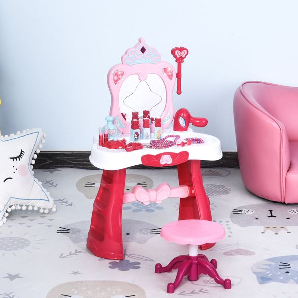 Qaba Children Dressing Table Set for Kids of 3-6 Years Dream Princess Vanity Set for Girls Make Up Table and Stool Set with Music and Lightening Pink White | Aosom Canada