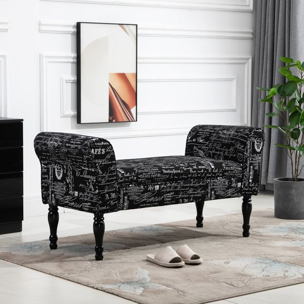 HOMCOM Patterned Upholstered Fabric Ottoman Bench with Armrests Fabric Ottoman for Bedroom  Entryway  Living room  Black | Aosom Canada
